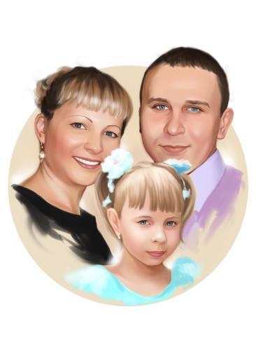 Семейный портрет по фото на холсте в Симферополе — правильный подарок!