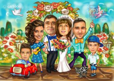 Шарж по фото на годовщину свадьбы на заказ в Симферополе…